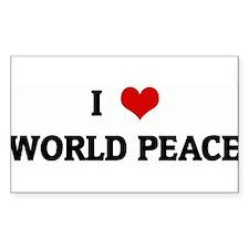 I Love WORLD PEACE Rectangle Decal