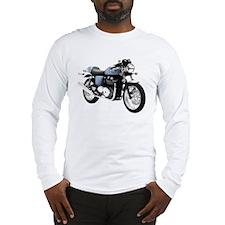 Triumph Thruxton Motorbike Blue Long Sleeve T-Shir