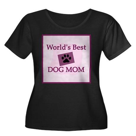 Dog Mom Women's Plus Size Scoop Neck Dark T-Shirt