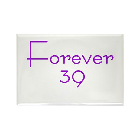 Forever 39 purple Rectangle Magnet