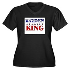 KAYDEN for king Women's Plus Size V-Neck Dark T-Sh
