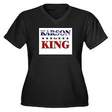 KARSON for king Women's Plus Size V-Neck Dark T-Sh