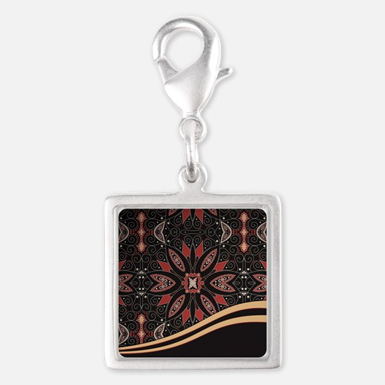 Abstract Floral Silver Square Charm