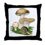 Snail in Mushroom Garden Throw Pillow