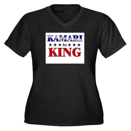 KAMARI for king Women's Plus Size V-Neck Dark T-Sh