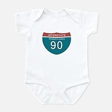 Interstate 90 PA T-shirts Infant Bodysuit