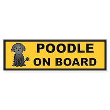 Black Poodle on Board Bumper Bumper Sticker