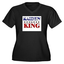 KAIDEN for king Women's Plus Size V-Neck Dark T-Sh