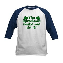 Leprechauns Made Me Do It Kids Baseball Jersey