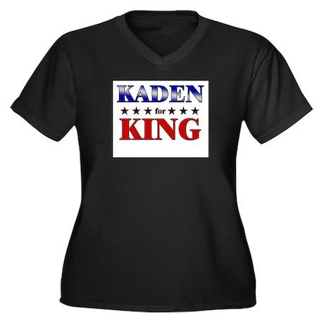 KADEN for king Women's Plus Size V-Neck Dark T-Shi