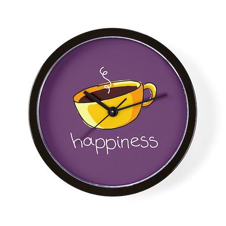 Happiness is Coffee Wall Clock