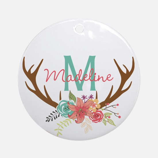 Personalized Floral Antler Monogram Round Ornament