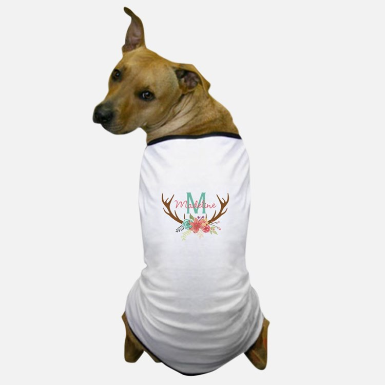 Personalized Floral Antler Monogram Dog T-Shirt