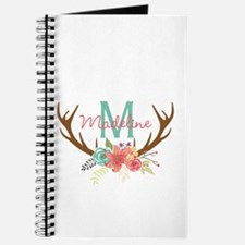 Personalized Floral Antler Monogram Journal