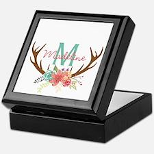 Personalized Floral Antler Monogram Keepsake Box