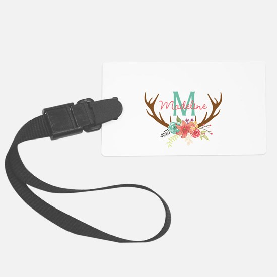 Personalized Floral Antler Monogram Luggage Tag
