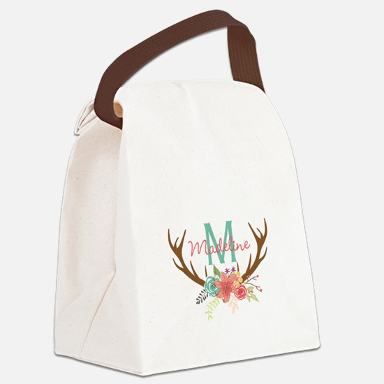 Personalized Floral Antler Monogram Canvas Lunch B