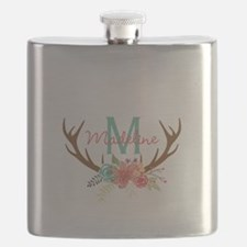 Personalized Floral Antler Monogram Flask