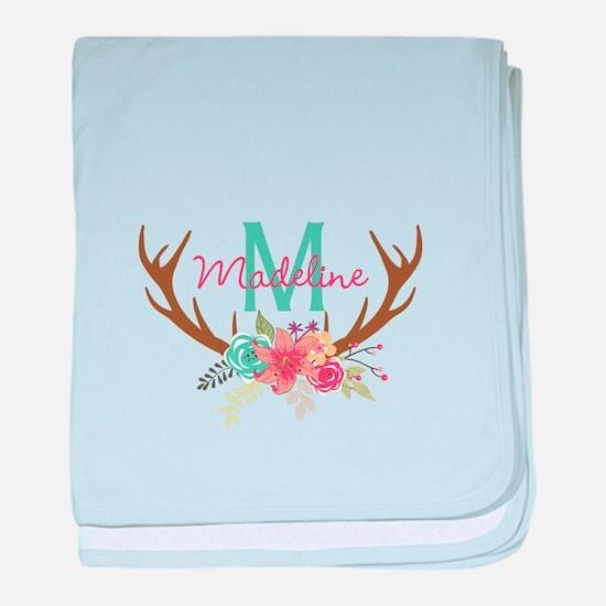 Personalized Floral Antler Monogram baby blanket