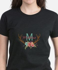 Personalized Floral Antler Monogram T-Shirt