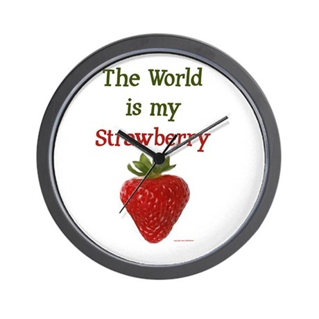 World is My Strawberry text Wall Clock