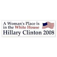 A Woman's Place Clinton Car Bumper Sticker