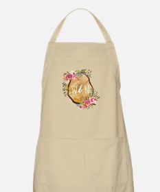 Monogram Initials in Wood Light Apron