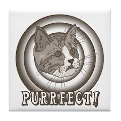 Retro Purrfect Cat Tile Coaster