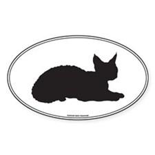 Devon Rex Silhouette Oval Decal