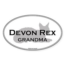 Devon Rex Grandma Oval Decal