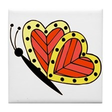 Butterfly Hearts 3 Tile Coaster