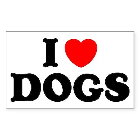 I Heart Dogs Rectangle Sticker