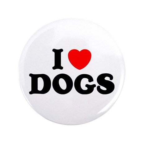 """I Heart Dogs 3.5"""" Button (100 pack)"""