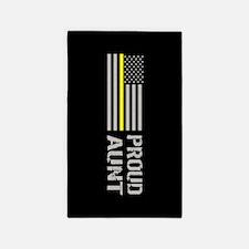 U.S. Flag Yellow Line: Proud Aunt (Black) Area Rug