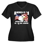 AMERICA IS #1 Women's Plus Size V-Neck Dark T-Shir