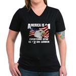 AMERICA IS #1 Women's V-Neck Dark T-Shirt