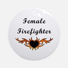 Female Firefighter Ornament (Round)