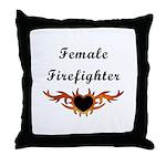 Female Firefighter Throw Pillow