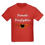 Female Firefighter Kids Dark T-Shirt