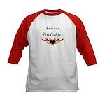 Female Firefighter Kids Baseball Jersey
