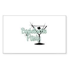 Green Martini Bachelorette Party Sticker (Rectangu