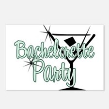 Green Martini Bachelorette Party Postcards (Packag