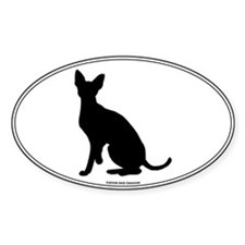 Cornish Rex Silhouette Oval Decal