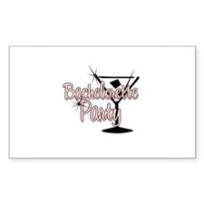 Red Martini Bachelorette Part Sticker (Rectangular