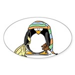 Bedtime Penguin Oval Sticker
