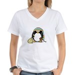 Bedtime Penguin Women's V-Neck T-Shirt