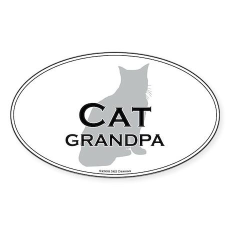 House Cat Grandpa Oval Sticker