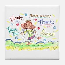 Dancing Angel Thanks Tile Coaster