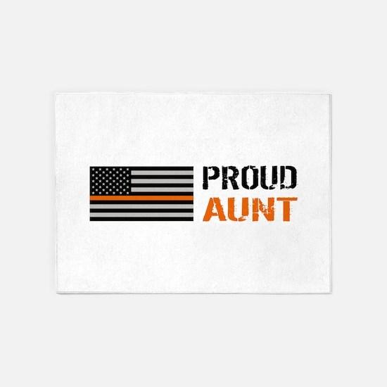 U.S. Flag Orange Line: Proud Aunt ( 5'x7'Area Rug