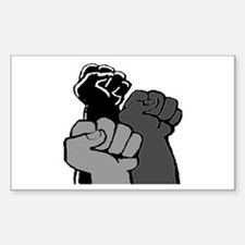 Three Black Power Fists Rectangle Decal